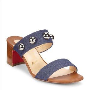 Christian Louboutin Studded Open Toe Slide Sandals